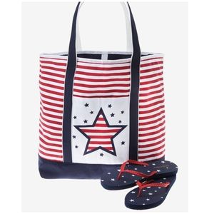 Patriotic Tote and Flip Flops Bundle NWOT